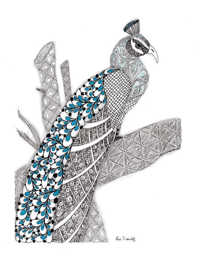 Peacock Drawing - Purdy Peacock by Paula Dickerhoff