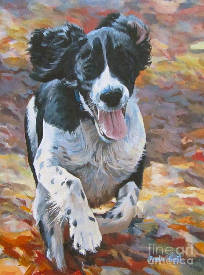 Dog Painting - Pure Fun by Anda Kett