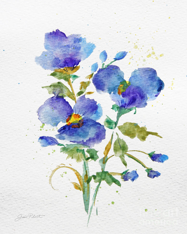 Purple Blue Watercolor Flowers Jp3793 Painting By Jean Plout