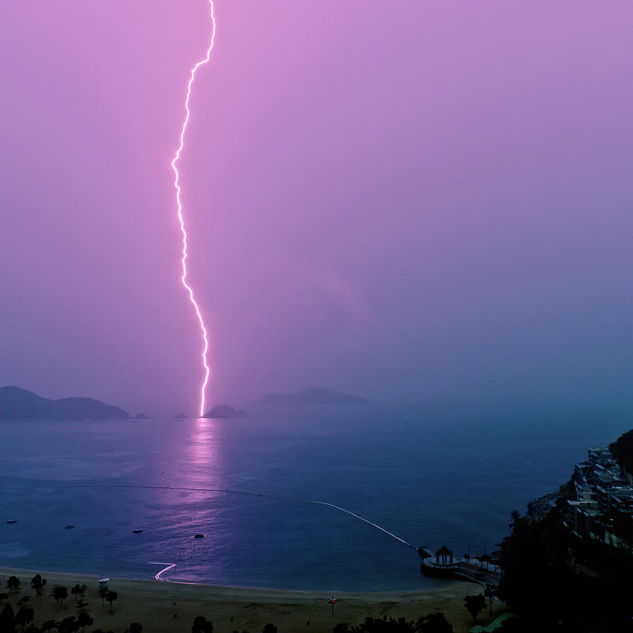 Square Photograph - Purple Glow Of Lightning by Judi Mowlem