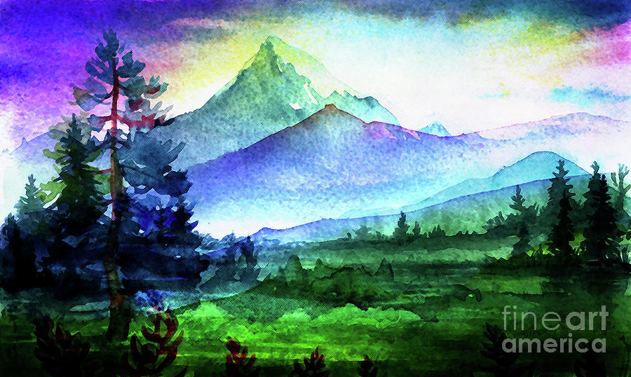 Purple Mountains Majesty Mixed Media