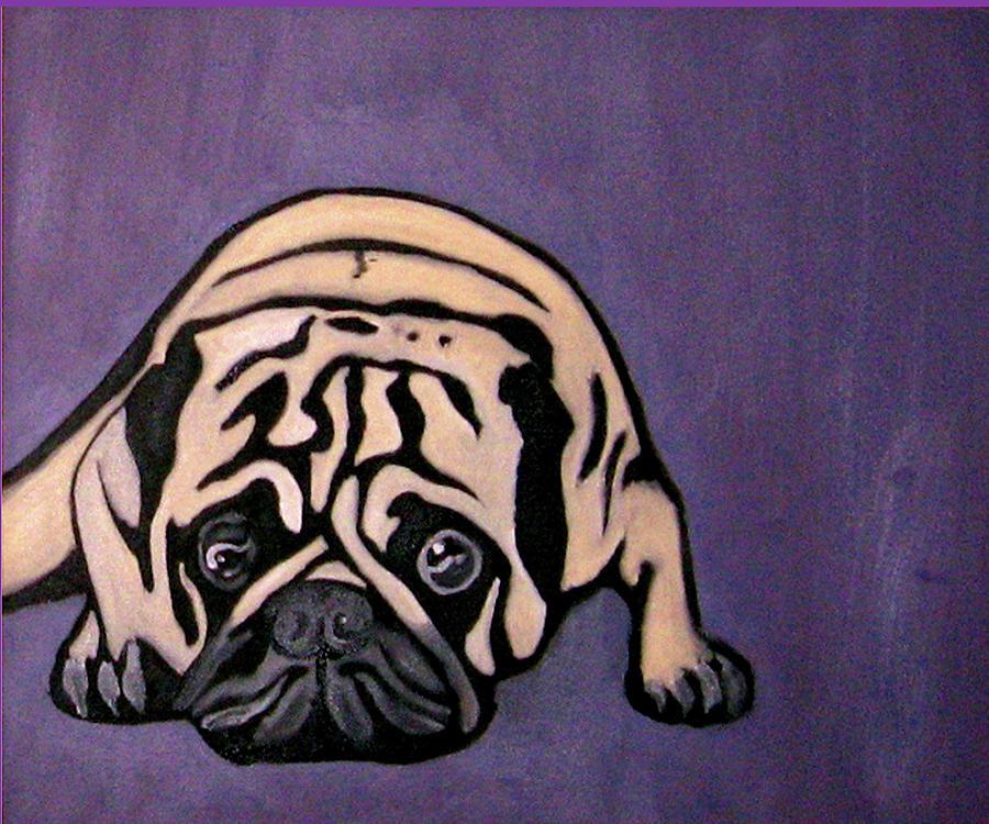 Pug Painting - Purple Pug by Darren Stein