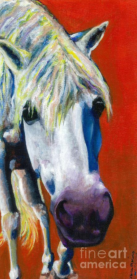 White Horse With Purple Nose Painting - Purple Velvet by Frances Marino