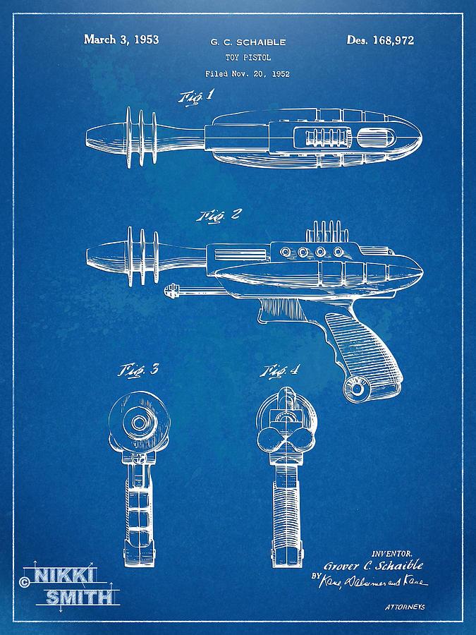 Pyrotomic Disintegrator Pistol Patent Digital Art