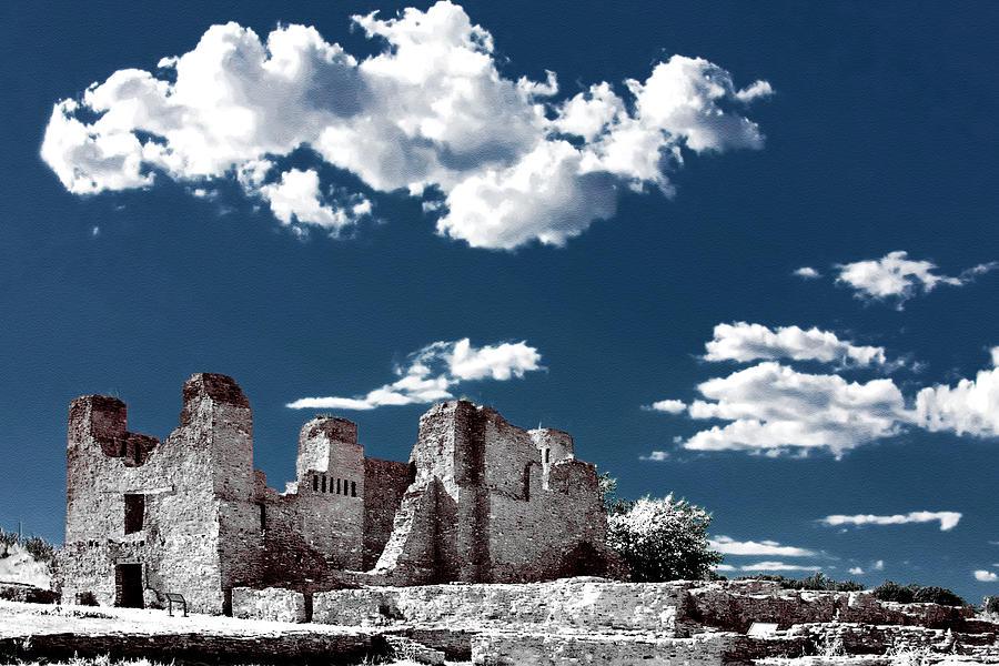 Church Photograph - Quarai New Mexico - Infrared False Color by Christine Till