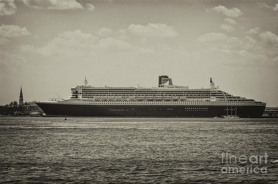 Queen Mary 2 In Sepia Photograph
