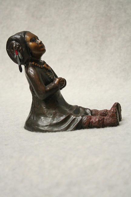 Bronze Sculpture Sculpture - Quiet Praise by Tomi LaPierre