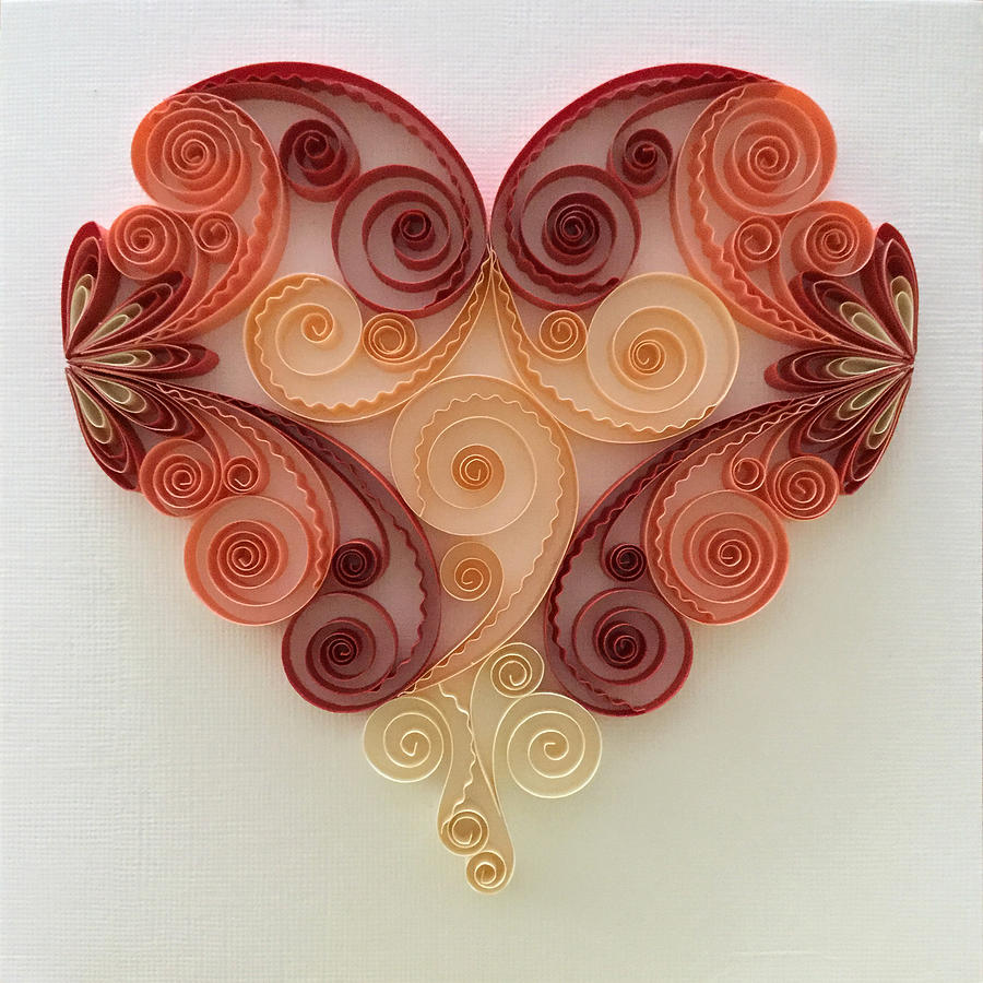Quilling heart 3 mixed media by felecia dennis for Quilling heart designs