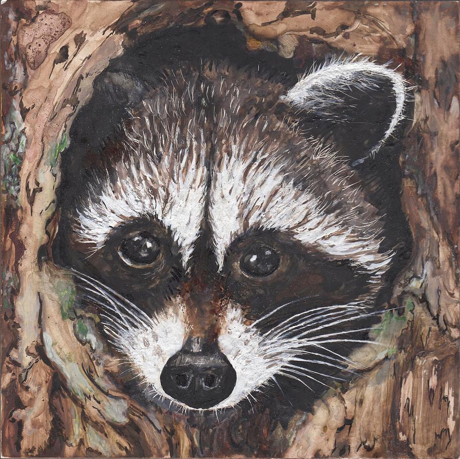 Raccoon Baby Painting by Marla Saville Raccoon Painting