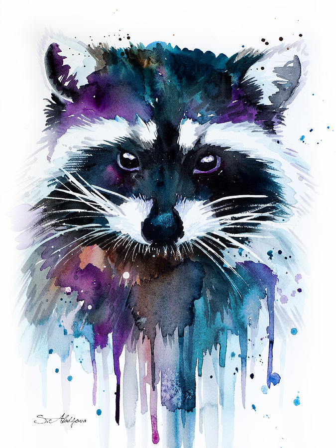 Raccoon Painting by Slavi Aladjova Raccoon Painting