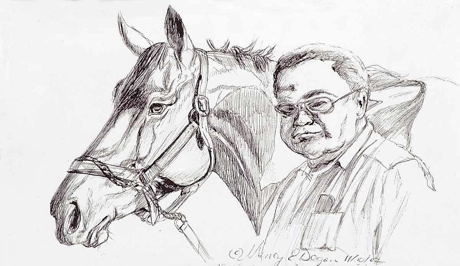 Race Horse Drawing - Race Horse And Owner by Nancy Degan
