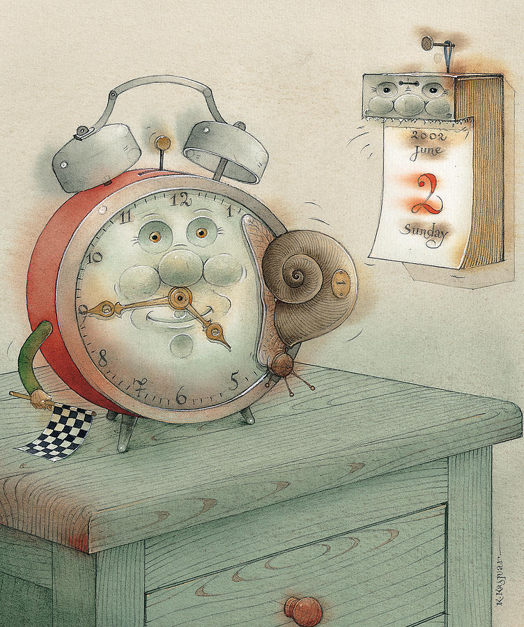Race Clock Snail Calendar Time Painting - Race by Kestutis Kasparavicius