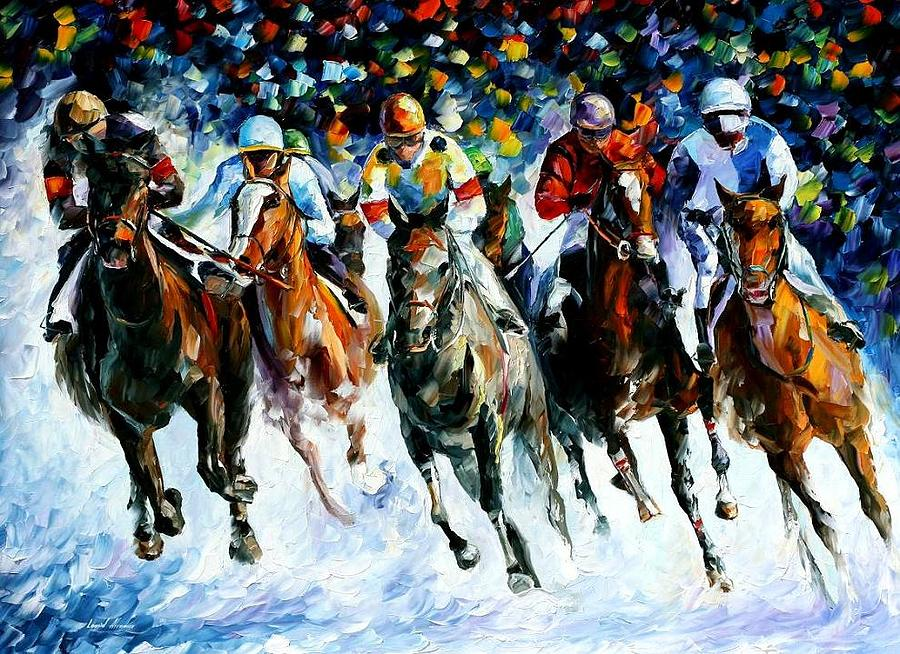 Race Painting - Race On The Snow by Leonid Afremov