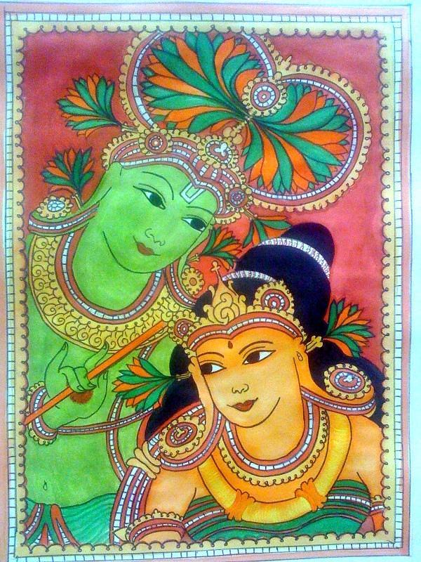 Poster Colors Painting - Radha Krishna Kerala Mural Painting  by Smitha Kamath
