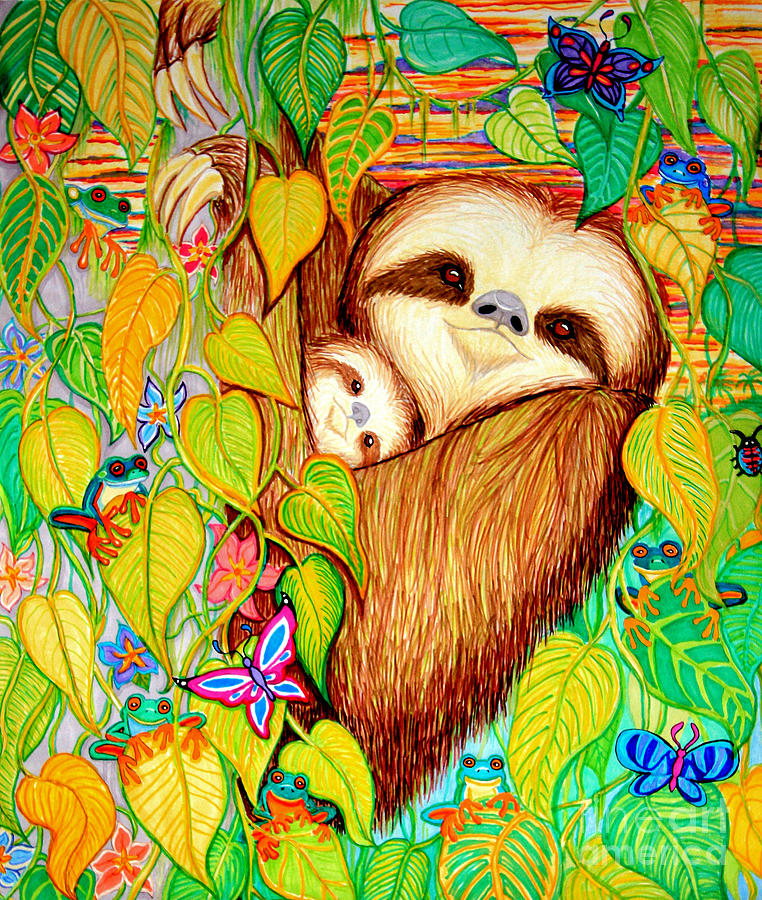 Mother And Baby Sloth Drawing - Rain Forest Survival Mother And Baby Three Toed Sloth by Nick Gustafson