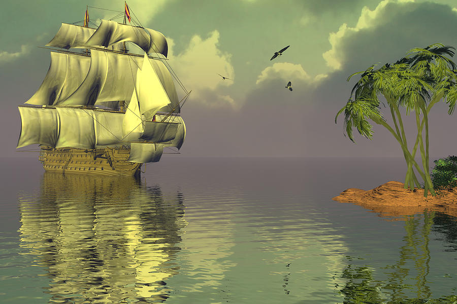 Bryce 3d Fantasy  tall Ships Windjammer Sea Digital Art - Rain Squall On The Horizon by Claude McCoy