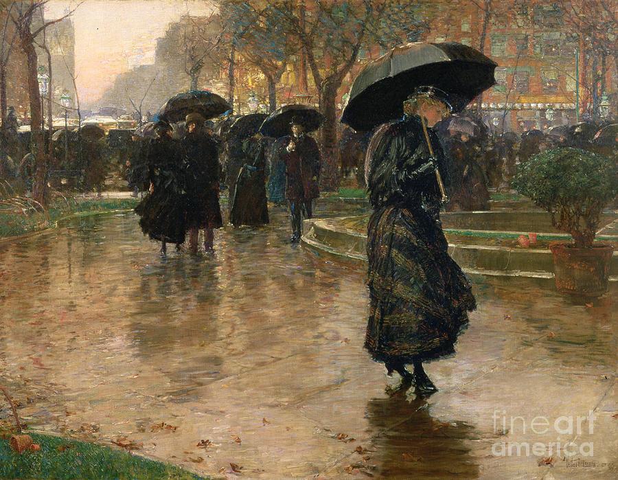 Rain Storm Painting - Rain Storm Union Square by Childe Hassam