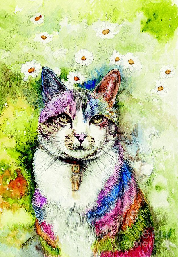 Rainbow Painting - Rainbow Cat by Morgan Fitzsimons