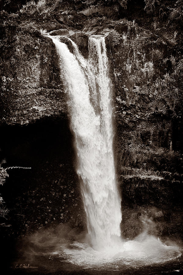 Falls Photograph - Rainbow Falls 2 - Sepia by Christopher Holmes