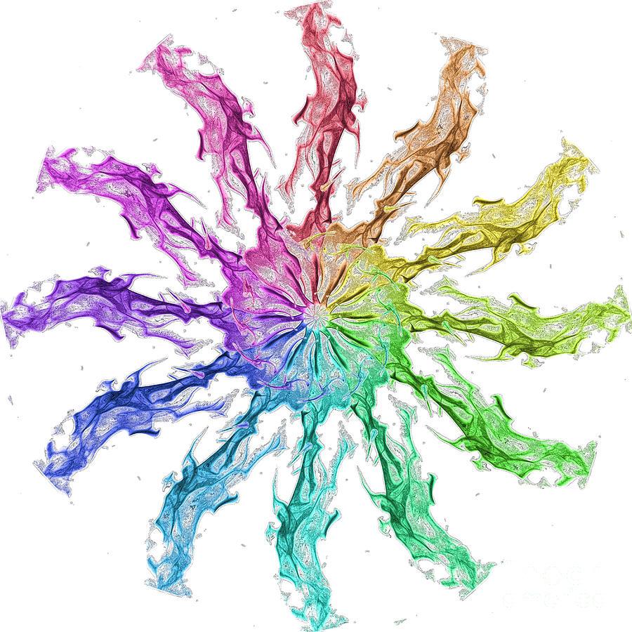 Rainbow Fire Clock Digital Art By Patrick Guidato