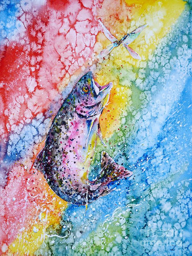 Trout Painting - Rainbow Hunter by Zaira Dzhaubaeva