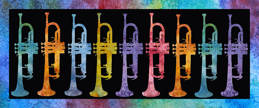 Trumpets Painting - Rainbow Of Trumpets by Jenny Armitage