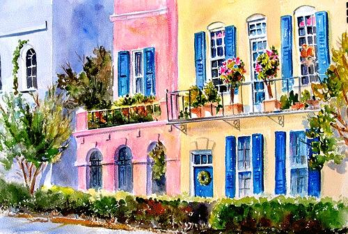 Rainbow row painting by judith chinski for Charleston row houses