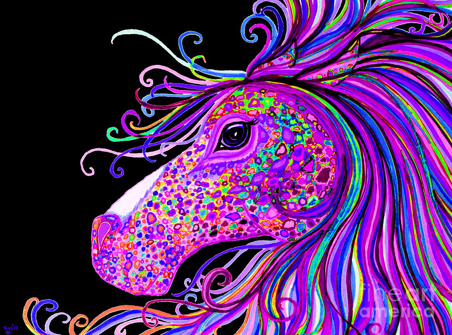 Horse Drawing - Rainbow Spotted Horse Head 2 by Nick Gustafson