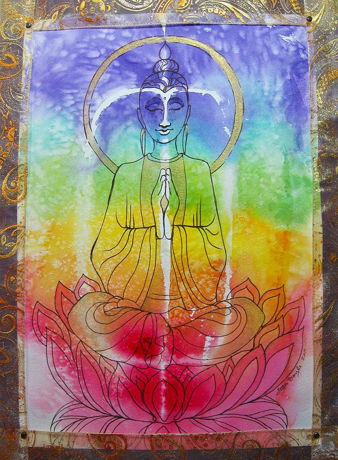 Buddha Mixed Media - Rainbowbuddha by Joan Doyle
