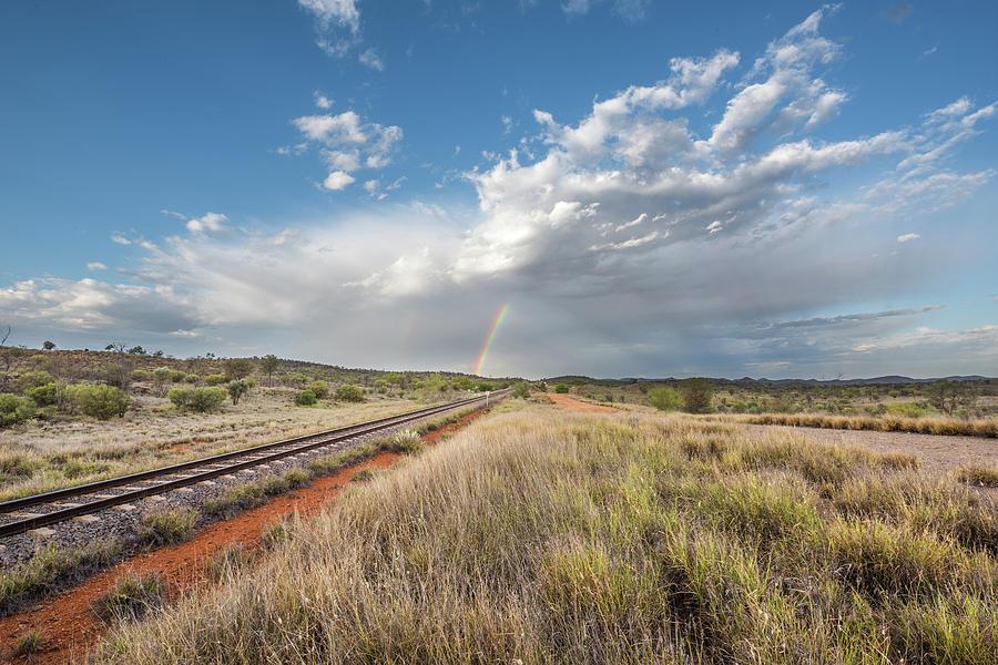 Rainbows Over Ghan Tracks Photograph
