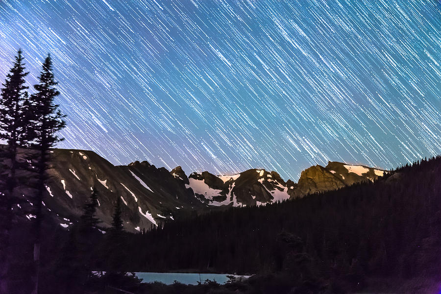 Raining Stars Over Longs Lake And The Indian Peaks Photograph