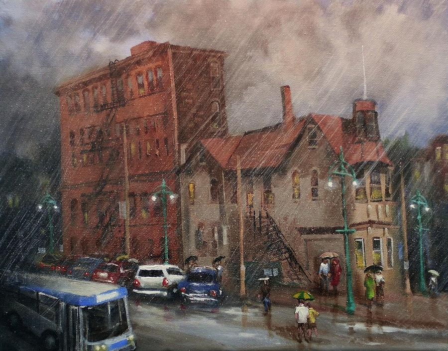 City Scene Painting - Rainy Afternoon Milwaukee by Tom Shropshire