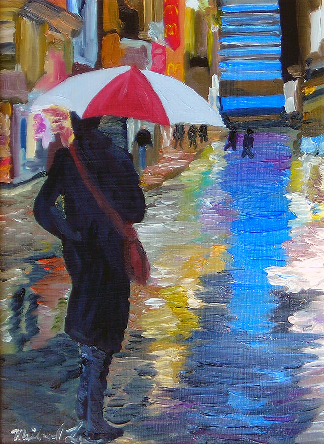 Umbrella Painting - Rainy New York by Michael Lee