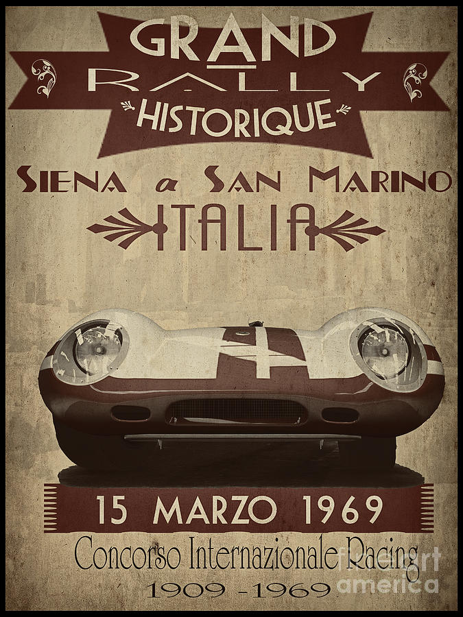 Vintage Painting - Rally Italia by Cinema Photography