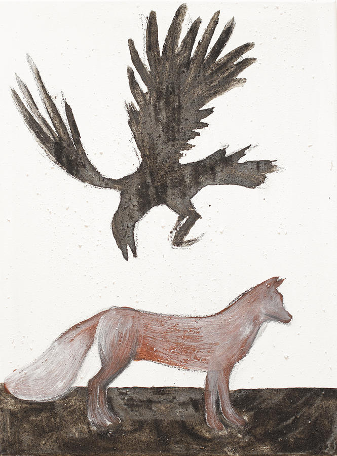 Fox Raven Crow Celtic Earth Paint Black White Painting - Raven And Old Fox by Sophy White