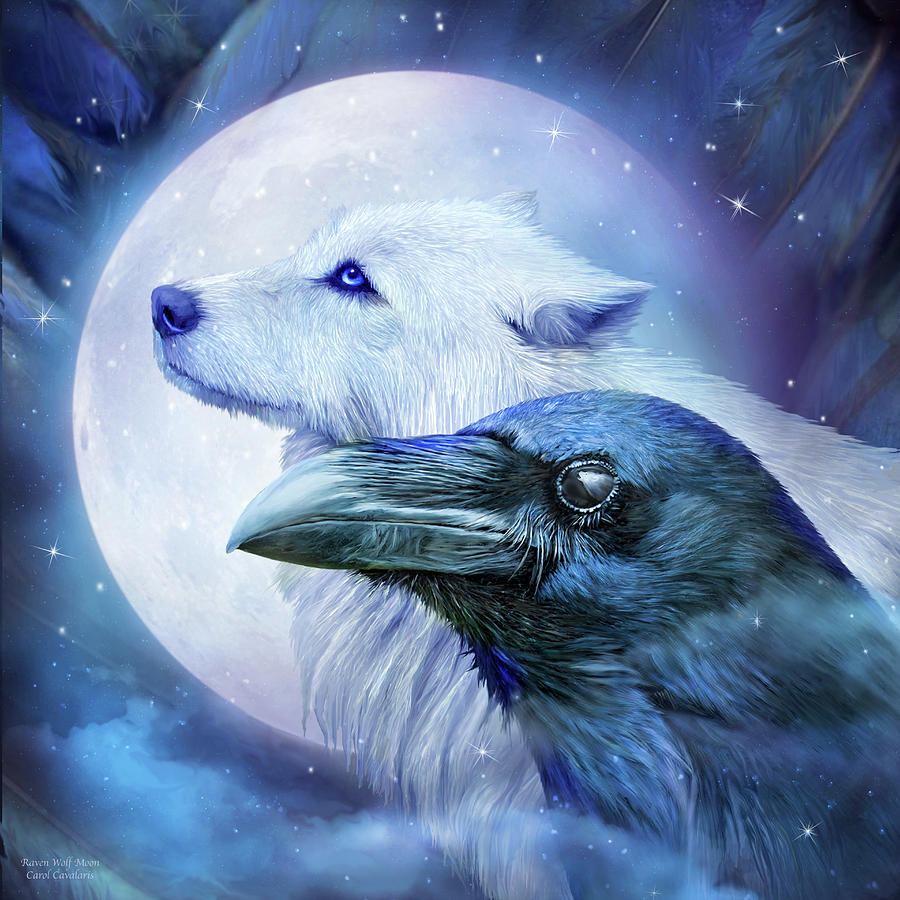 Raven Wolf Moon Mixed Media By Carol Cavalaris