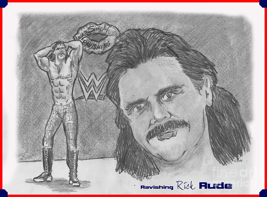 Rick Rude Drawing - Ravishing Rick Rude by Chris  DelVecchio