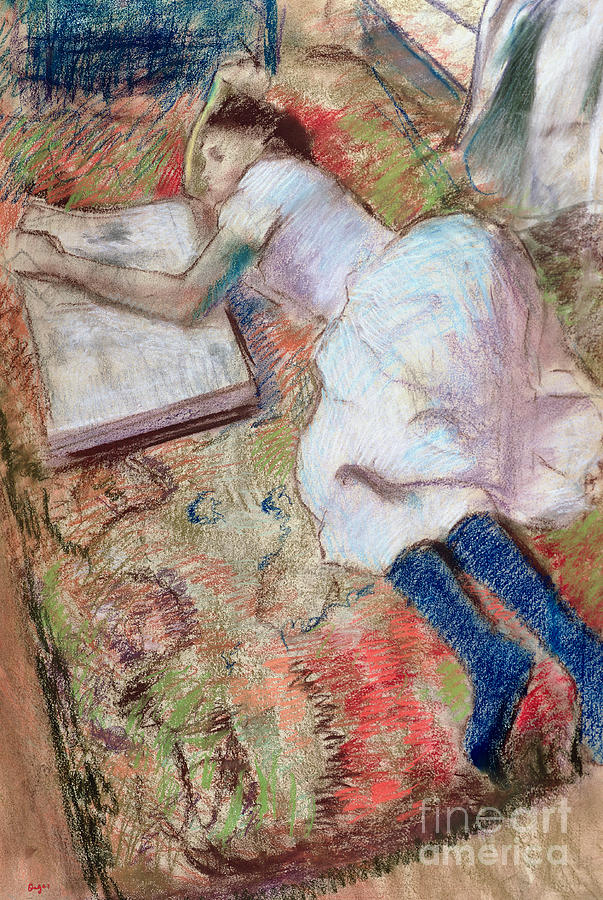 Girl; Reading; Reclining; Impressionist; Book; Interior; Impressionism Pastel - Reader Lying Down by Edgar Degas