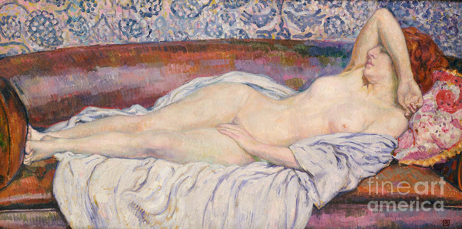 Female; Nude; Full Length; Resting; Lying Down; Settee; Sofa; Interior Ginger Hair Nudes Painting - Reclining Nude  by Theo van Rysselberghe