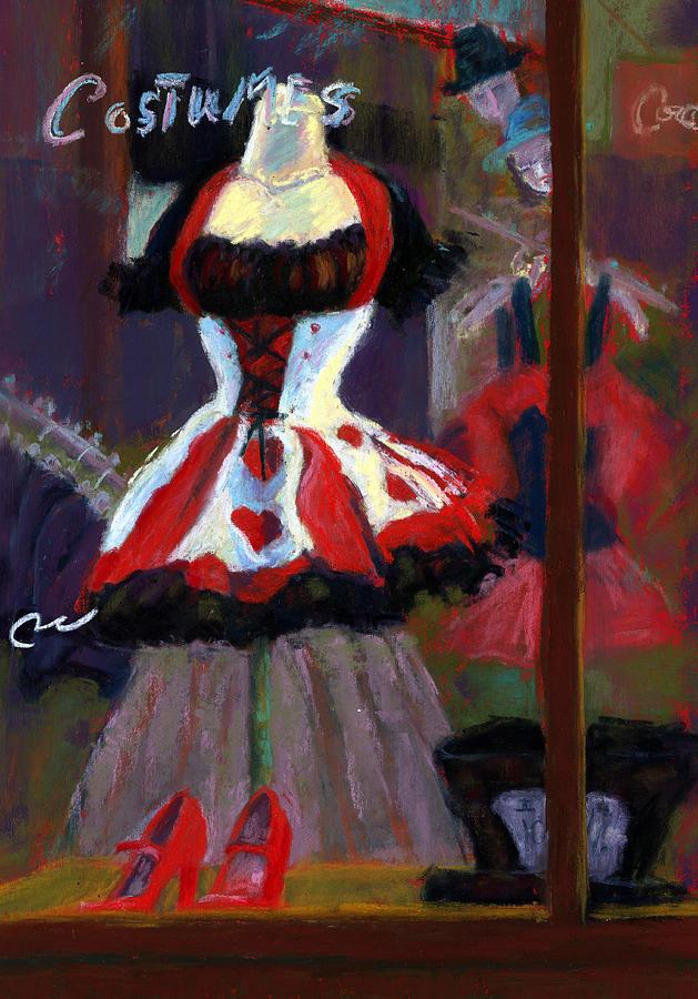 Red Black White Jester Costume Mardi Gras Holloween Ritz Exotic Night Store Window Painting - Red And Black Jester Costume by Cheryl Whitehall