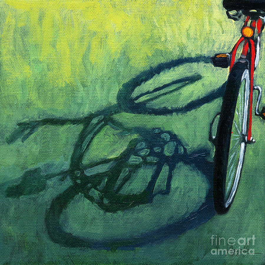 Bicycle Painting - Red And Green - Bike Art by Linda Apple