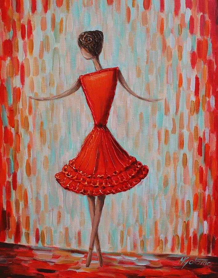 Red Ballerina Painting By Mirjana Gotovac