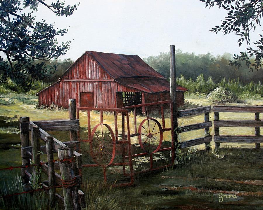 Barn Painting - Red Barn At Sunrise by Cynara Shelton