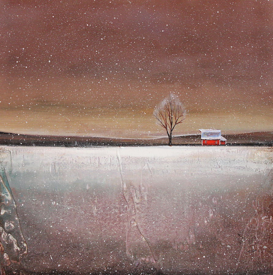 Red Barn In Snow Painting