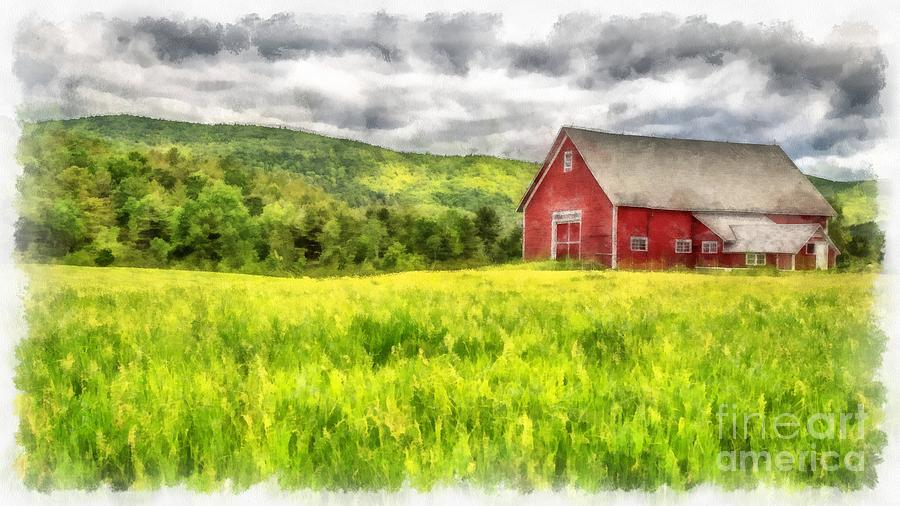Red Barn Landscape Watercolor Painting By Edward Fielding