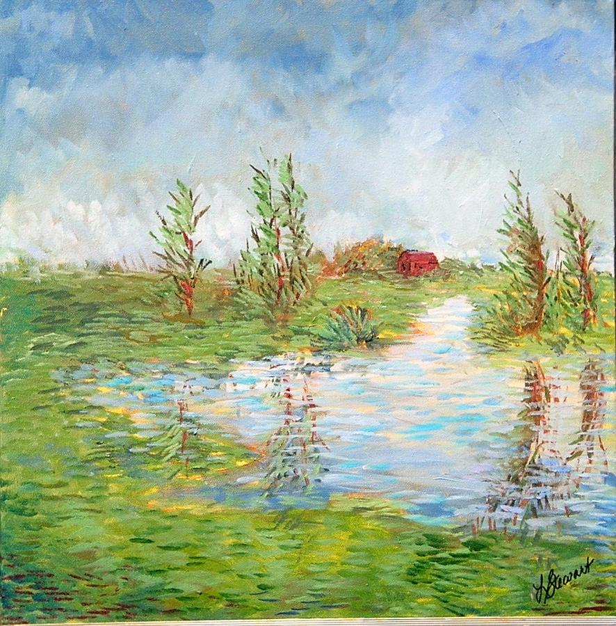 Impressionistic Oils Painting - Red Barn by Lynn Stewart