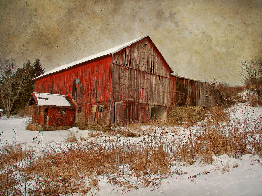 Barn Photograph - Red Barn White Snow by Larry Marshall