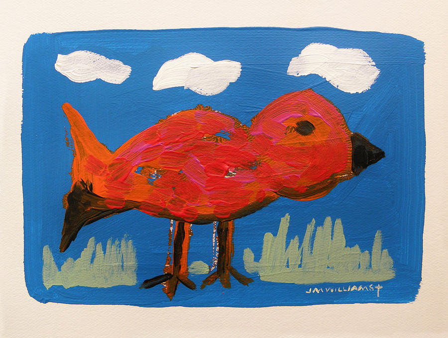 Red Bird In Grass Painting