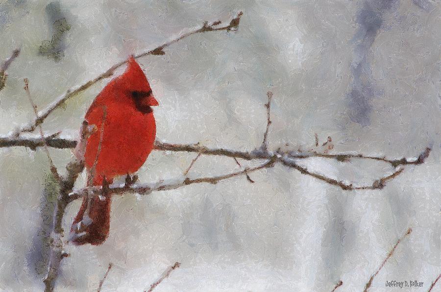 Bird Painting - Red Bird Of Winter by Jeff Kolker