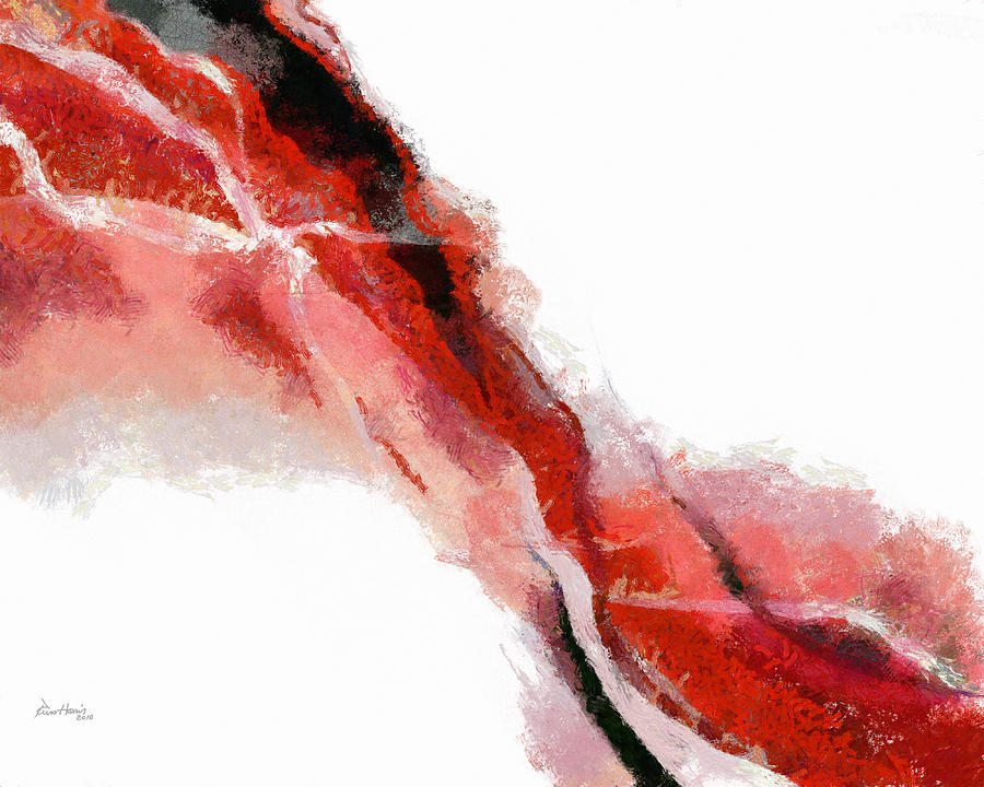Red Painting - Red Black Abstract by Russ Harris
